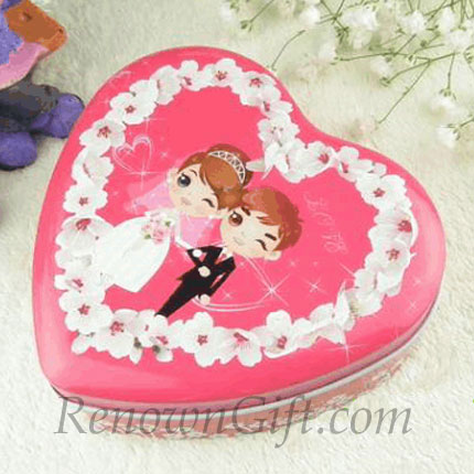 Cartoon Style Bride and Groom Pink Mint Tin