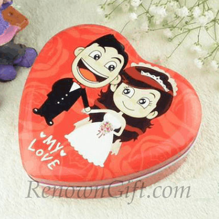 Cartoon Bride and Groom Wedding Mint Tin Favour