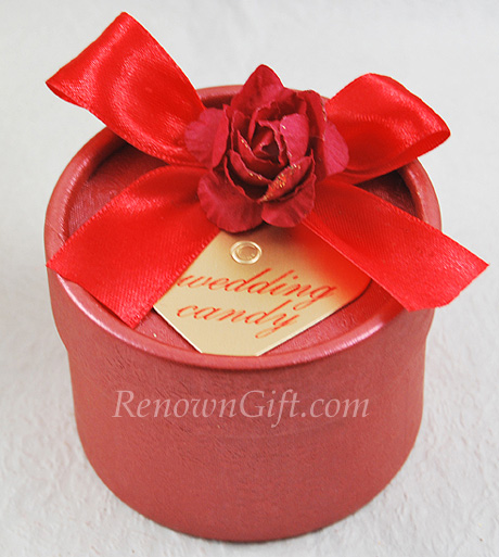 Wedding Door Gift Red Round Candy Box