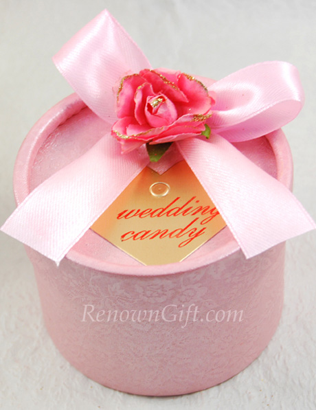 Wedding Door Gift Pink Round Candy Box