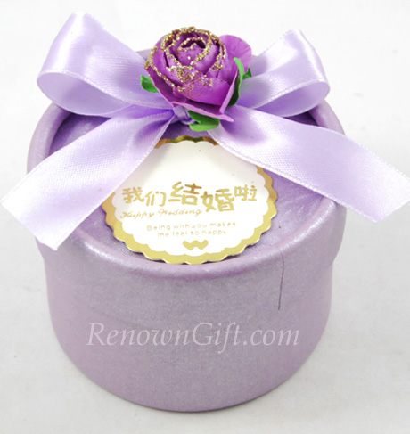 Wedding Door Gift Purple Round Candy Box
