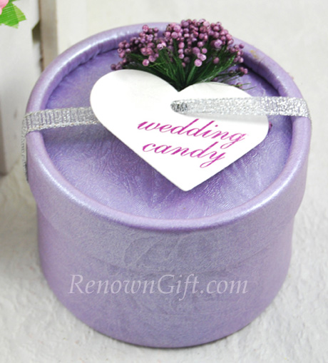 Purple Round Candy Box Favour