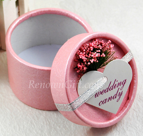 Pink Round Candy Box Favour