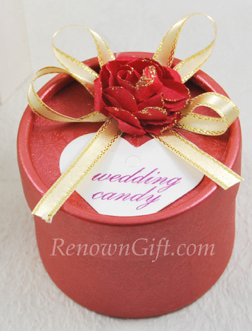 Red Round Wedding Candy Box