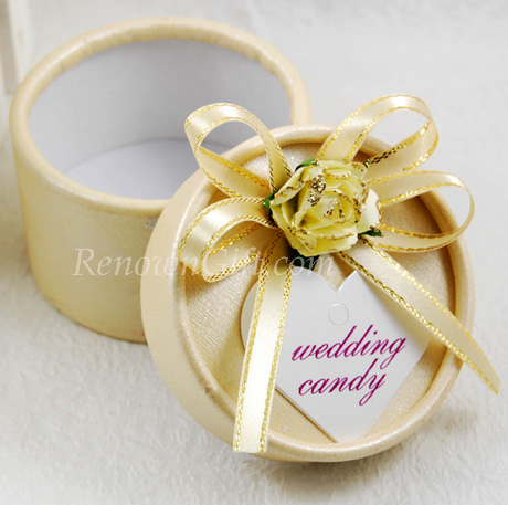 Gold Round Wedding Candy Box