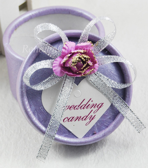 Purple Round Wedding Candy Box