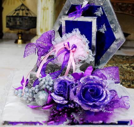 gubahan hantaran ungu bekas cincin