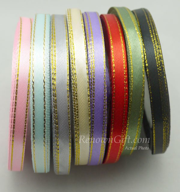 ribbon satin with gold edge