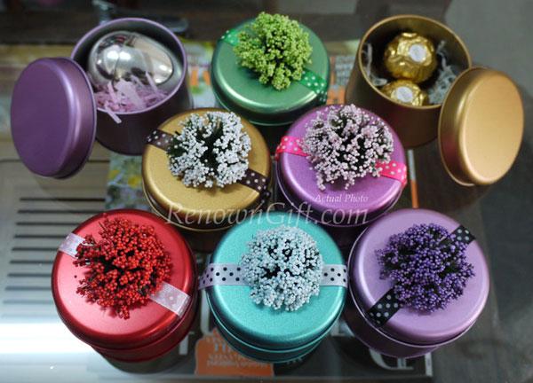lavender round metallic tin box