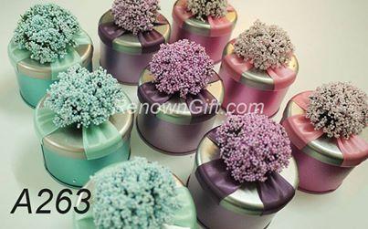 lavender round metalic tin box