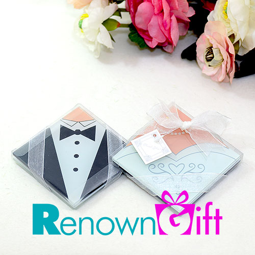 bride and groom coaster