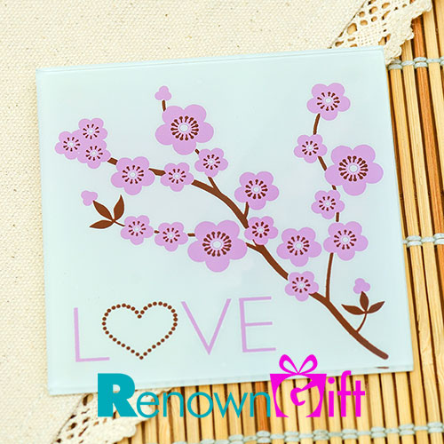 pink flower photo coaster