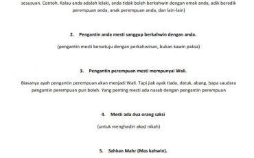 checklist kahwin