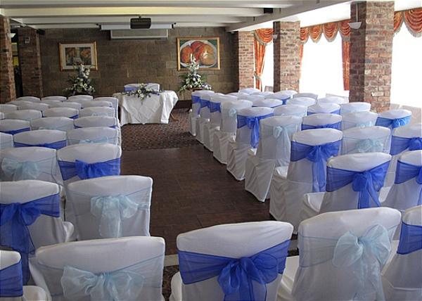 White n Blue chair cover