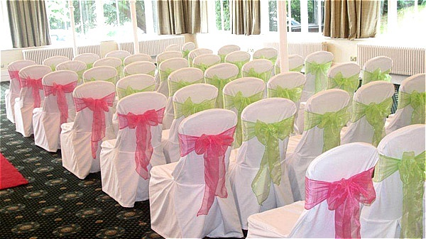 pink and green chair cover
