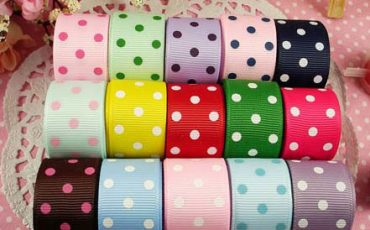 printed grosgrain polkadot 22mm